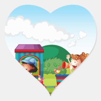 Train ride heart sticker