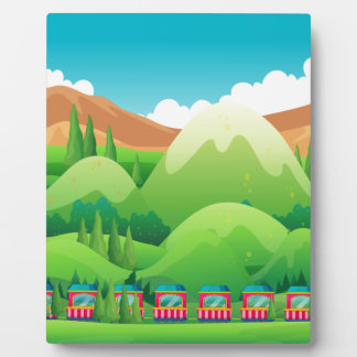 Train ride through the green field plaque