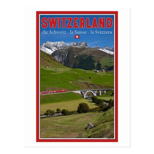 Train Ride through the Swiss Alps Postcard