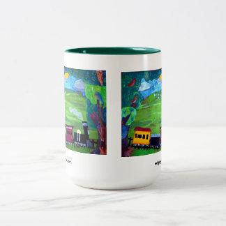Train rolling over the hillside Two-Tone coffee mug