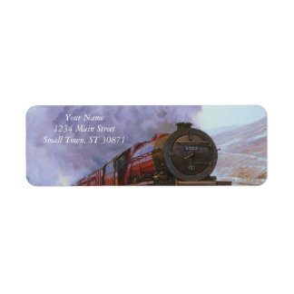 Train Snow Winter Painting  Smoke Label