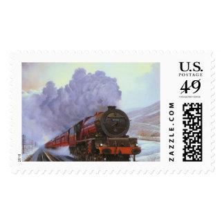 Train Snow Winter Painting  Smoke Stamps