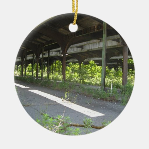 Train Station Double-Sided Ceramic Round Christmas Ornament
