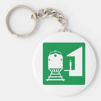 Train Station Highway Sign Basic Round Button Keychain