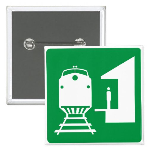 Train Station Highway Sign Pinback Buttons