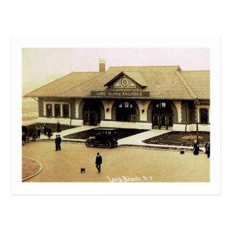 Train Station, Long Beach, Long Island, NY Vintage Postcard