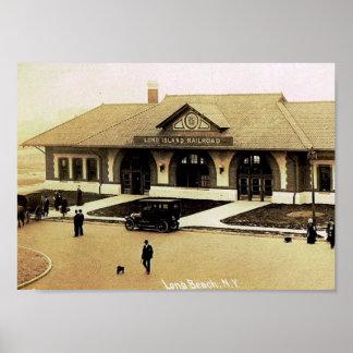 Train Station, Long Beach, Long Island, NY Vintage Poster