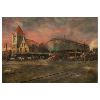 Train Station - NY Central Railroad depot 1905 Wood Poster