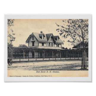 Train Station, Red Bank, New Jersey Vintage Poster