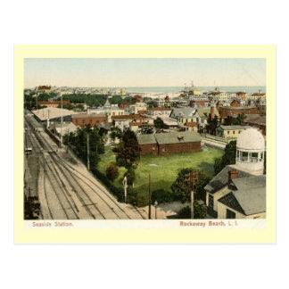 Train Station, Rockaway Beach, New York Vintage Postcard