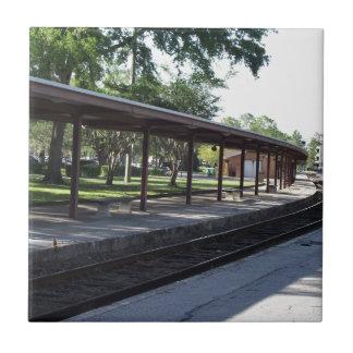 Train Station Small Square Tile