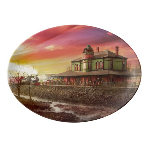 Train Station - The early train 1900 Porcelain Serving Platter