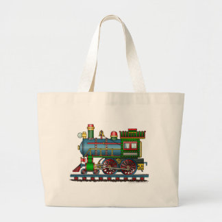 Train Steam Engine Choo Choo Bags/Totes Large Tote Bag