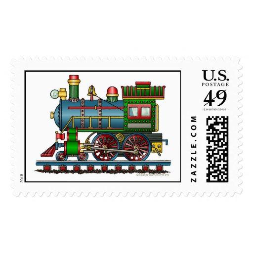 Train Steam Engine Choo Choo Stamps