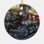Train - Steam Locomotives Double-Sided Ceramic Round Christmas Ornament