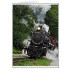train steam rail railway station engine rails art card