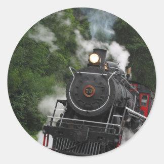train steam rail railway station engine rails art classic round sticker