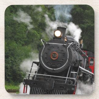 train steam rail railway station engine rails art beverage coaster