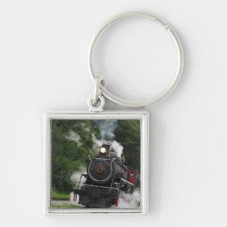 train steam rail railway station engine rails art Silver-Colored square keychain
