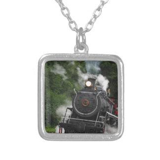train steam rail railway station engine rails art necklace
