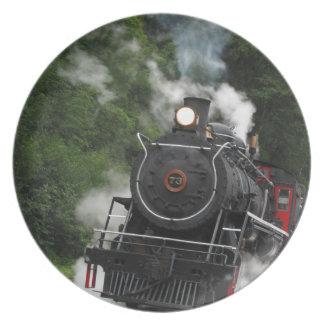 train steam rail railway station engine rails art dinner plate