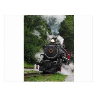 train steam rail railway station engine rails art postcard