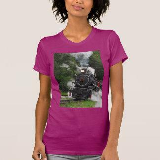 train steam rail railway station engine rails art tee shirt