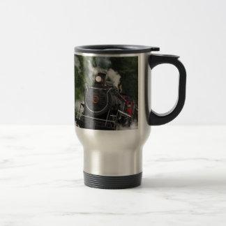 train steam rail railway station engine rails art travel mug