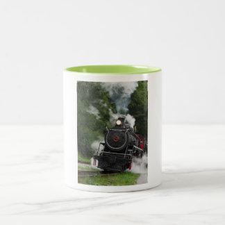 train steam rail railway station engine rails art Two-Tone coffee mug