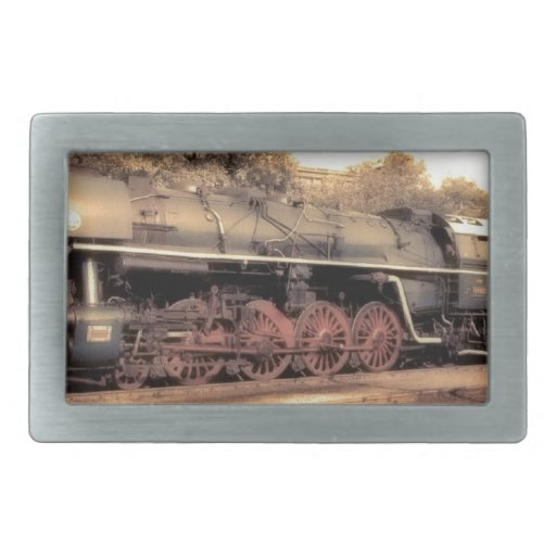 Train Steam Railroad Steampunk Engine Destiny Rectangular Belt Buckles