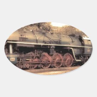 Train Steam Railroad Steampunk Engine Destiny Oval Sticker