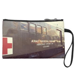 train suede wristlet wallet
