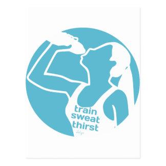 TRAIN SWEAT THIRST (F) blue Postcard