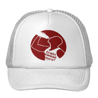 TRAIN SWEAT THIRST red Trucker Hat