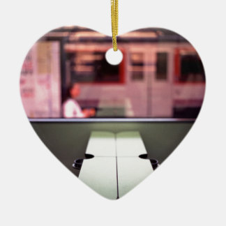 Train table and station Hasselblad medium format 1 Double-Sided Heart Ceramic Christmas Ornament