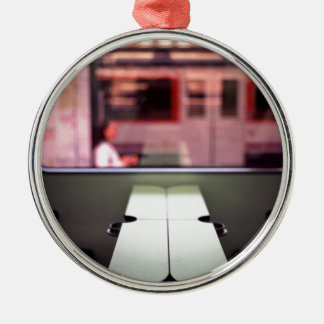 Train table and station Hasselblad medium format 1 Round Metal Christmas Ornament