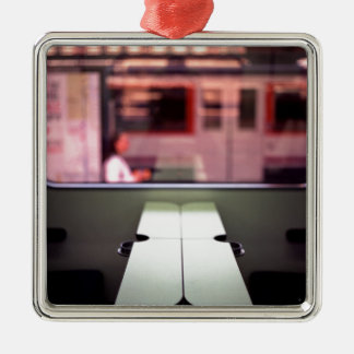 Train table and station Hasselblad medium format 1 Square Metal Christmas Ornament