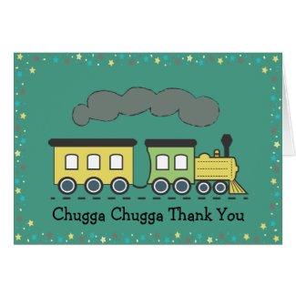 Train Thank You Card - Greens