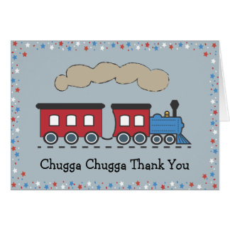 Train Thank You Card - Red, White & Blue