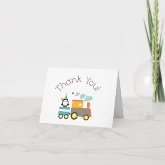 Train Thank You note card card