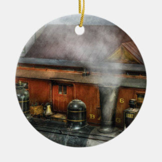 Train - The train yard Double-Sided Ceramic Round Christmas Ornament