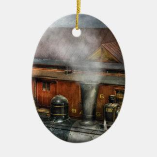 Train - The train yard Double-Sided Oval Ceramic Christmas Ornament