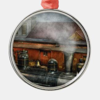 Train - The train yard Round Metal Christmas Ornament