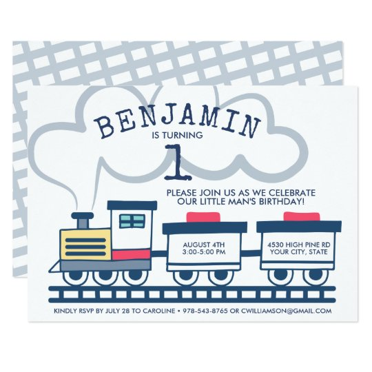 Train Theme Boy Birthday Party Invitation