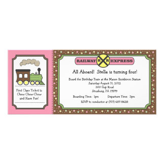 Train Ticket Invite - Pink & Brown