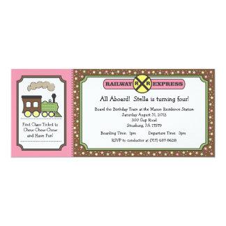 """Train Ticket Invite - Pink & Brown 4"""" X 9.25"""" Invitation Card"""