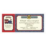 Train Ticket Invite - Rustic Red & Blue