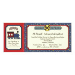"""Train Ticket Invite - Rustic Red & Blue 2 4"""" X 9.25"""" Invitation Card"""