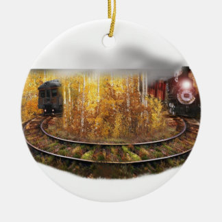 Train to Nowhere Double-Sided Ceramic Round Christmas Ornament