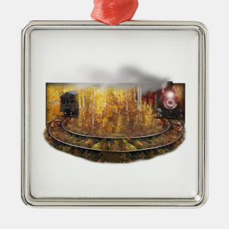 Train to Nowhere Square Metal Christmas Ornament